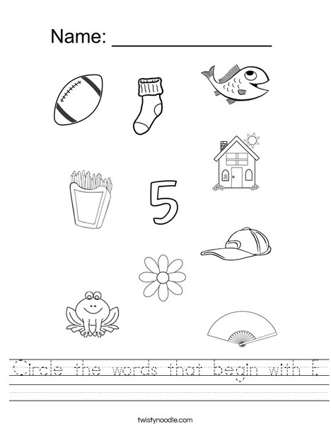 Circle the words that begin with F. Worksheet