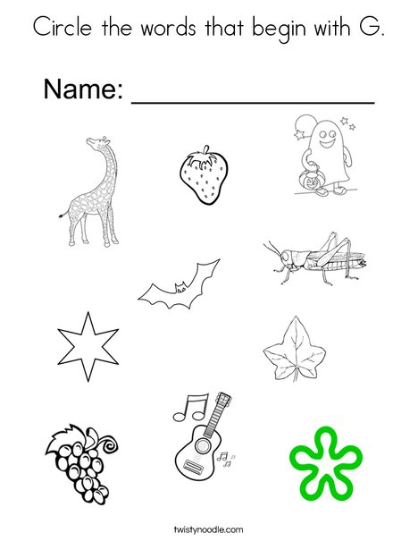 Circle the words that begin with G. Coloring Page