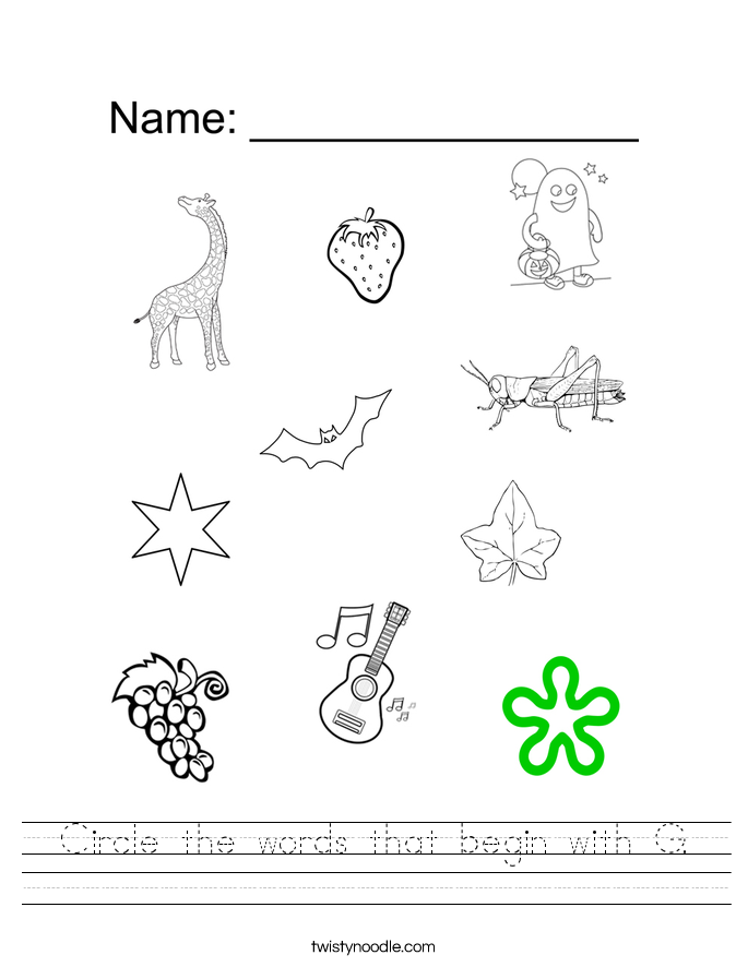 Circle the words that begin with G. Worksheet
