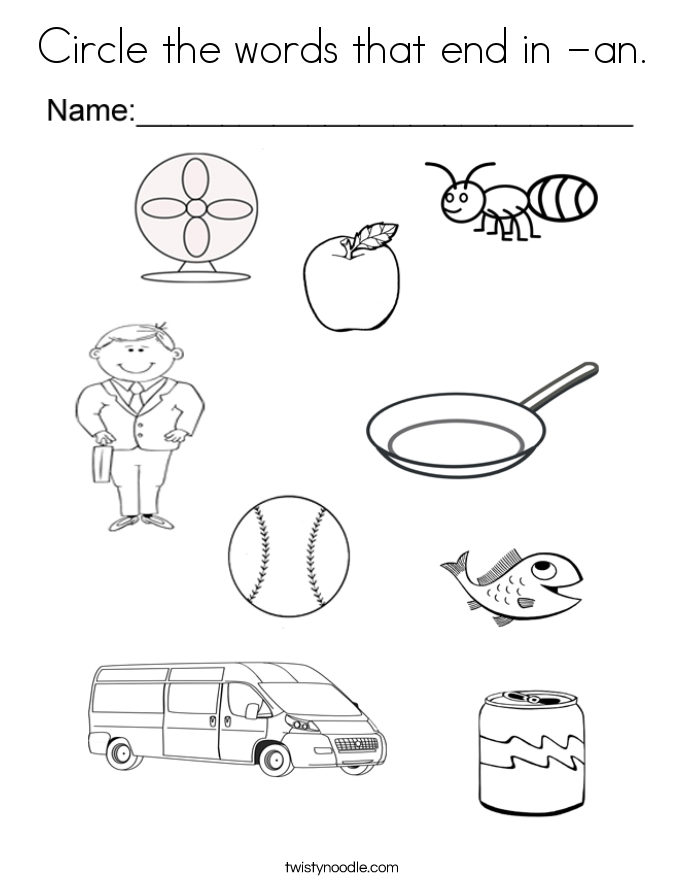 Circle the words that end in -an. Coloring Page