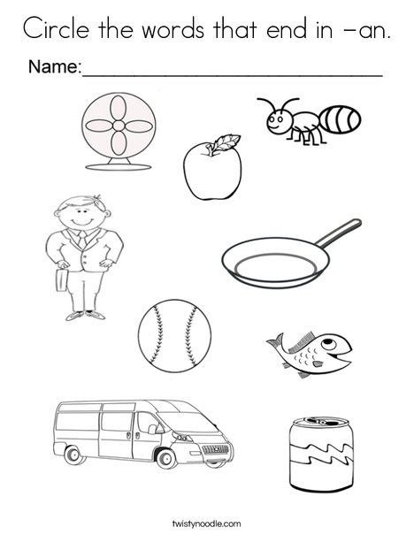 Circle the words that end in an Coloring Page