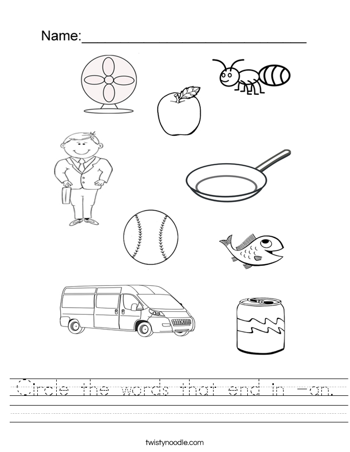 Circle the words that end in -an. Worksheet