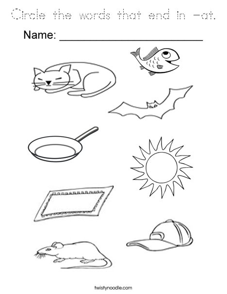 Circle the words that end in -at. Coloring Page