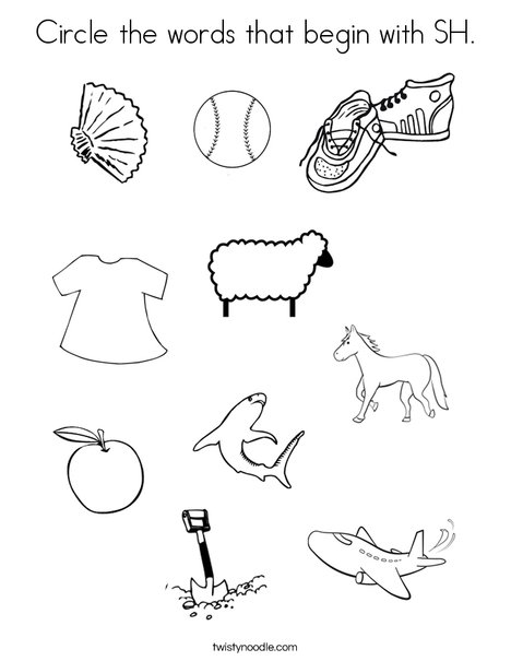 Circle the words that start with SH. Coloring Page