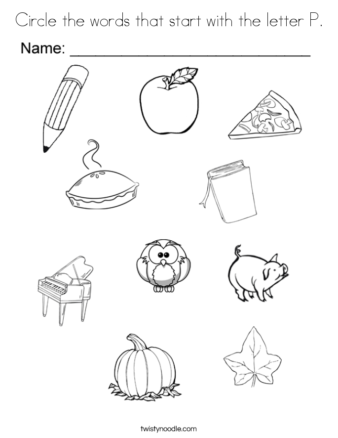 circle the words that start with the letter p coloring page