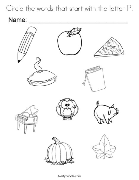 Circle the words that start with the letter P. Coloring Page