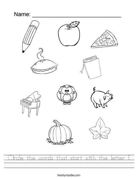 Circle the words that start with the letter P. Worksheet