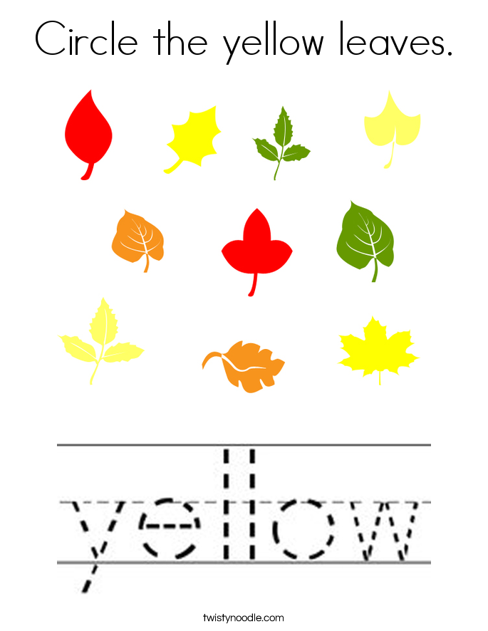 Circle the yellow leaves. Coloring Page