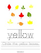 Circle the yellow leaves Handwriting Sheet