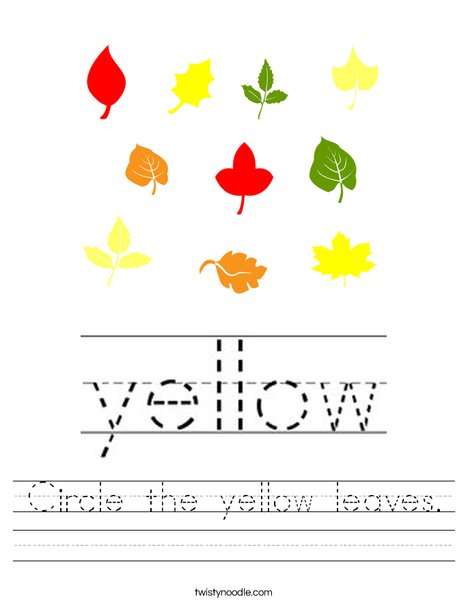 Circle the yellow leaves. Worksheet