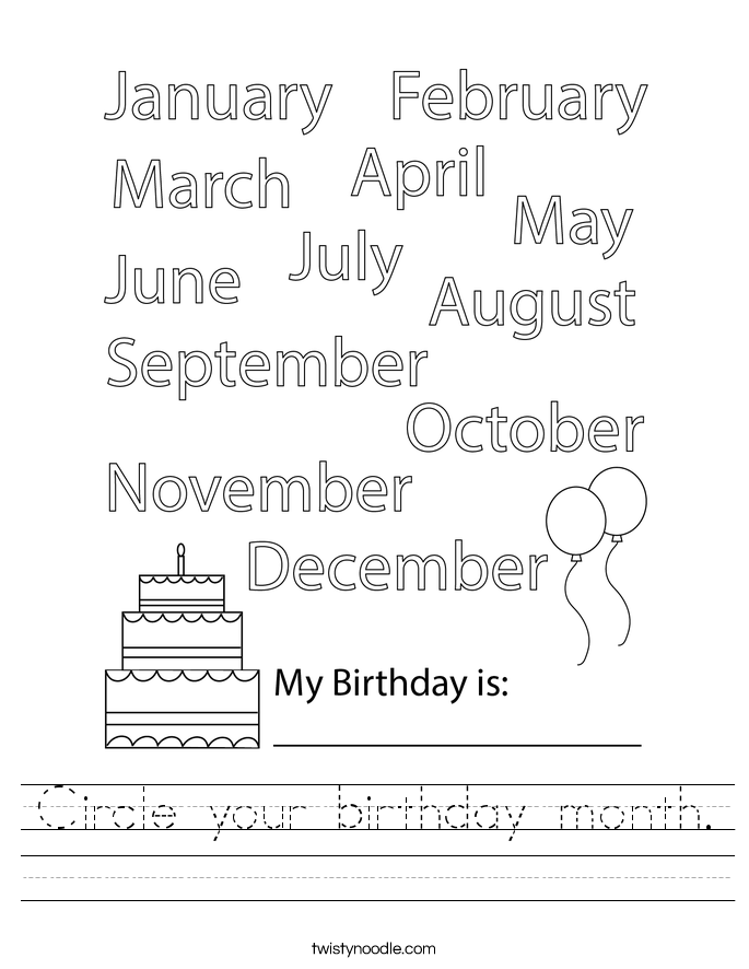 Circle your birthday month. Worksheet