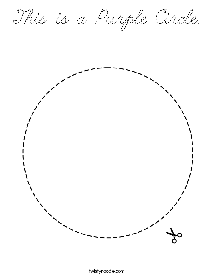 This Is A Purple Circle Coloring Page Cursive Twisty