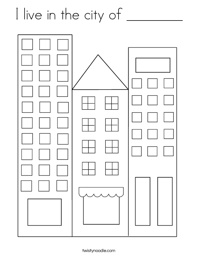 I live in the city of ________ Coloring Page