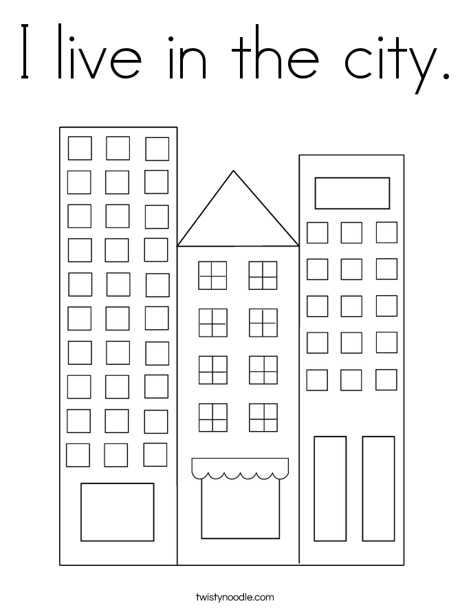 I live in the city. Coloring Page