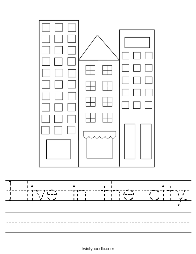 I live in the city. Worksheet