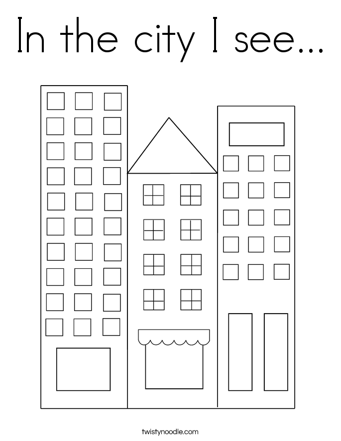 In the city I see... Coloring Page