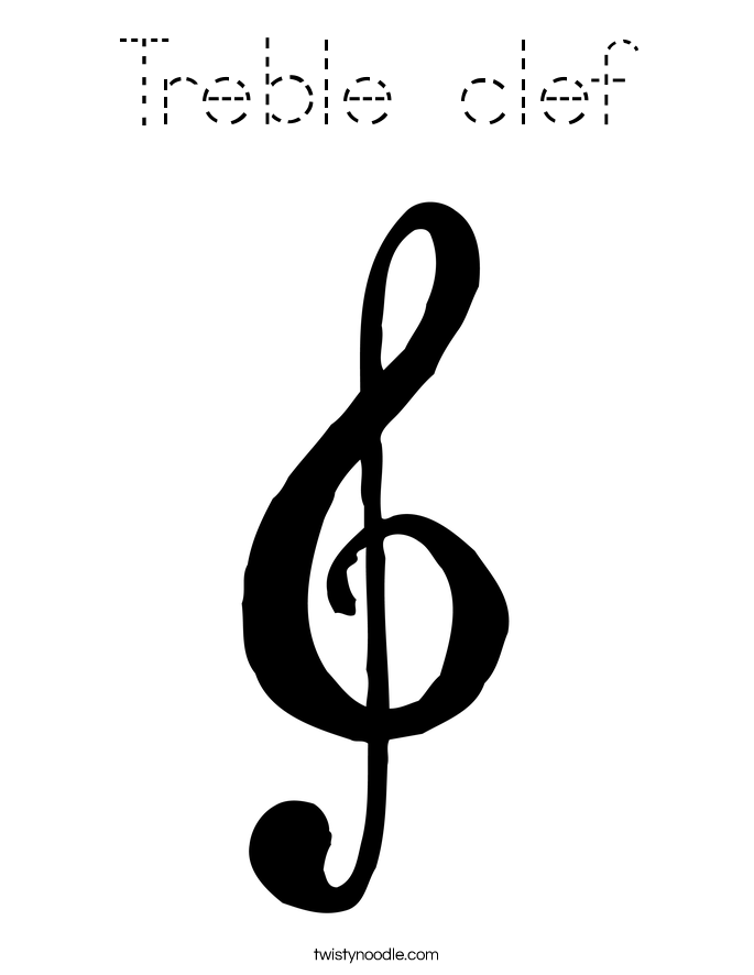 Treble Clef Coloring Page Tracing Twisty Noodle Treble Clef Coloring Page