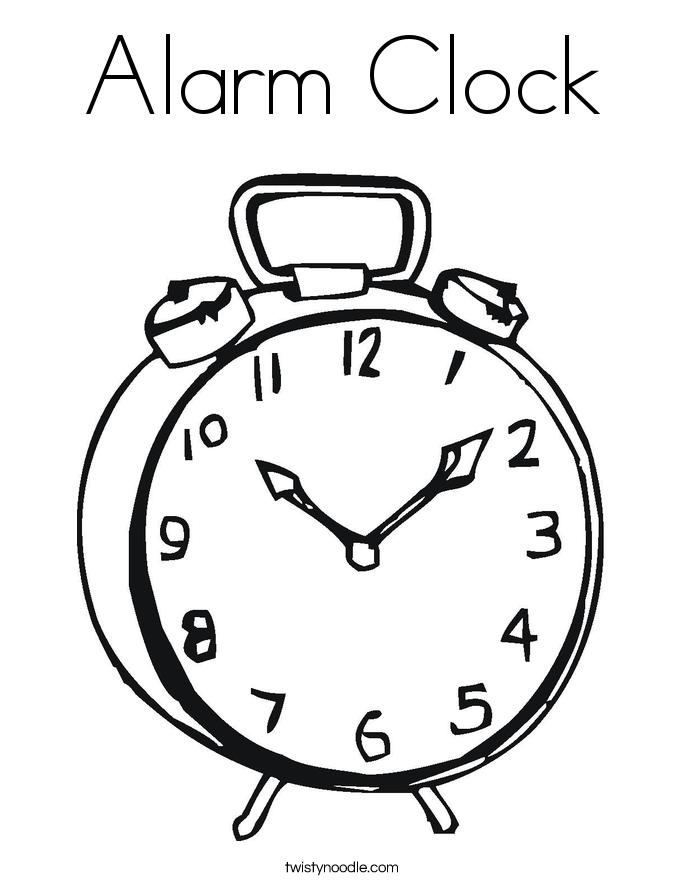clock coloring page - alarm clock coloring page twisty noodle