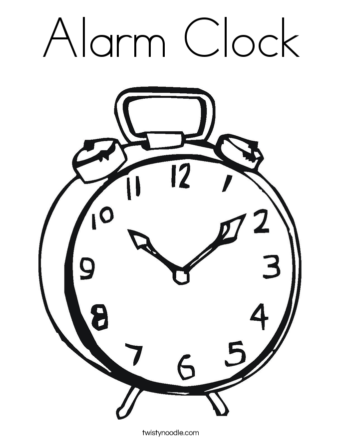alarm clock coloring page twisty noodle. Black Bedroom Furniture Sets. Home Design Ideas