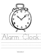 Alarm Clock Handwriting Sheet