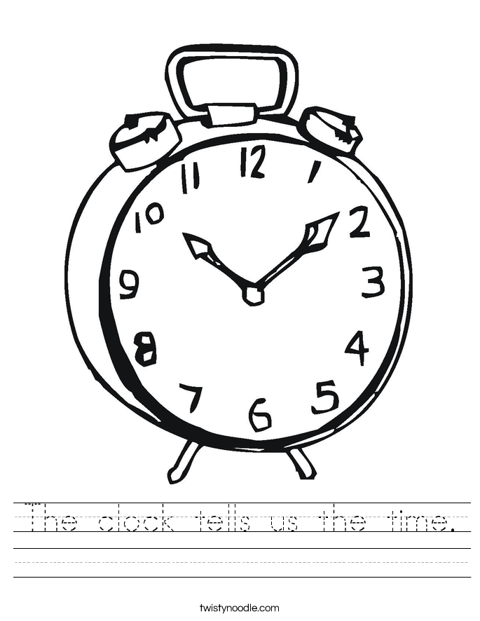 The clock tells us the time Worksheet Twisty Noodle – Clock Worksheet