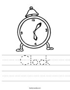 Clock Handwriting Sheet