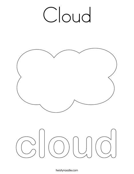 Cloud Coloring Page Twisty Noodle