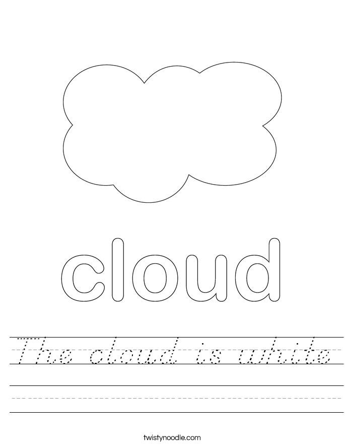 the cloud is white worksheet d 39 nealian twisty noodle. Black Bedroom Furniture Sets. Home Design Ideas