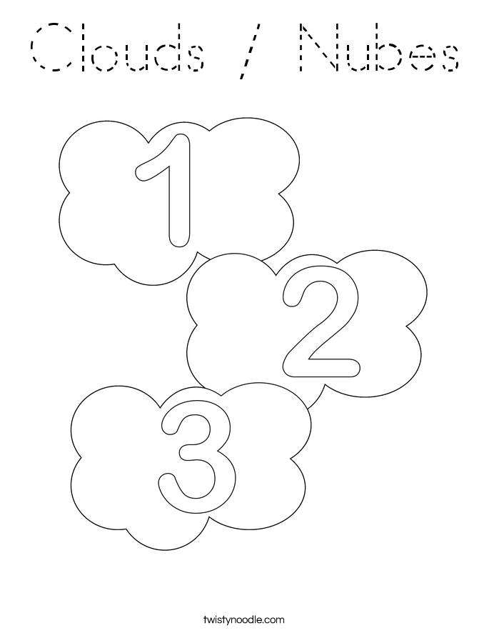 Clouds / Nubes Coloring Page