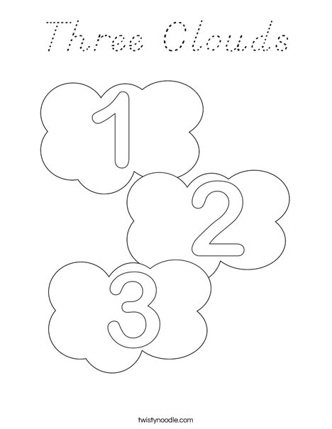 Three Clouds Coloring Page