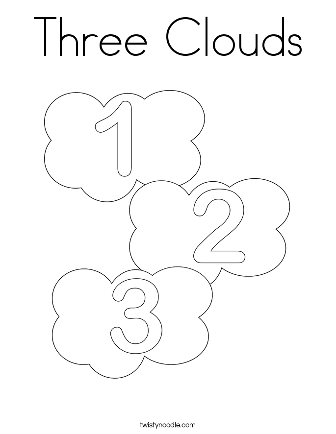 Three Clouds Coloring Page Twisty Noodle