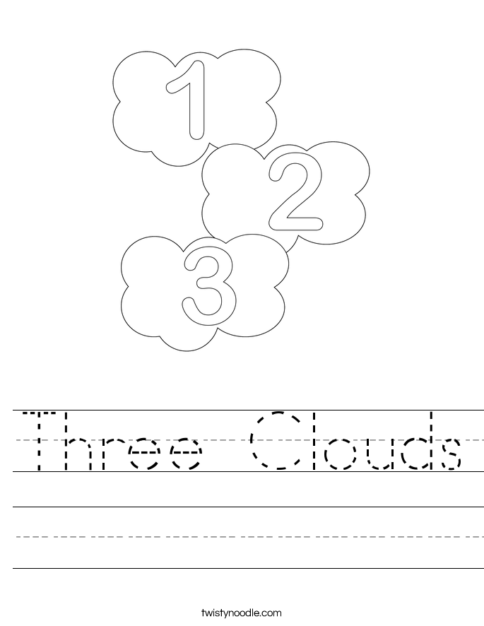 Three Clouds Worksheet Twisty Noodle – Clouds Worksheet