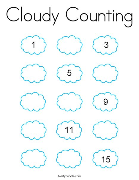 Cloudy Counting Coloring Page