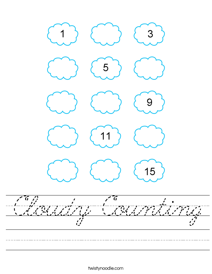 Cloudy Counting Worksheet