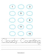 Cloudy Counting Handwriting Sheet