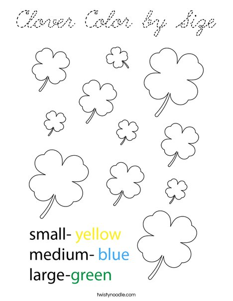 Clover Color by Size Coloring Page