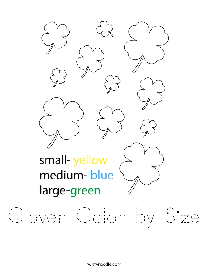 Clover Color by Size Worksheet