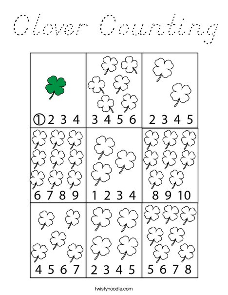 Clover Counting Coloring Page