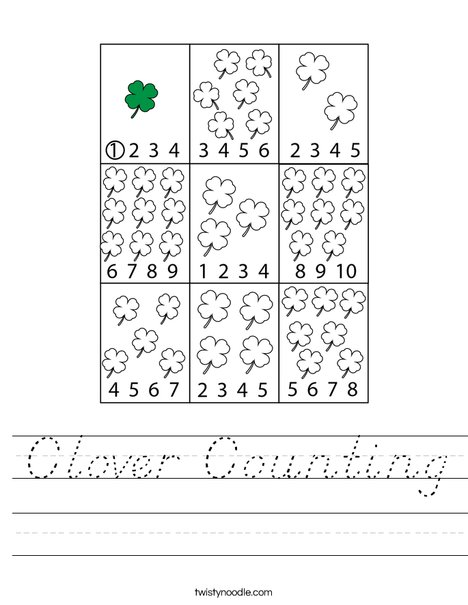 Clover Counting Worksheet