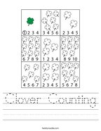 Clover Counting Handwriting Sheet