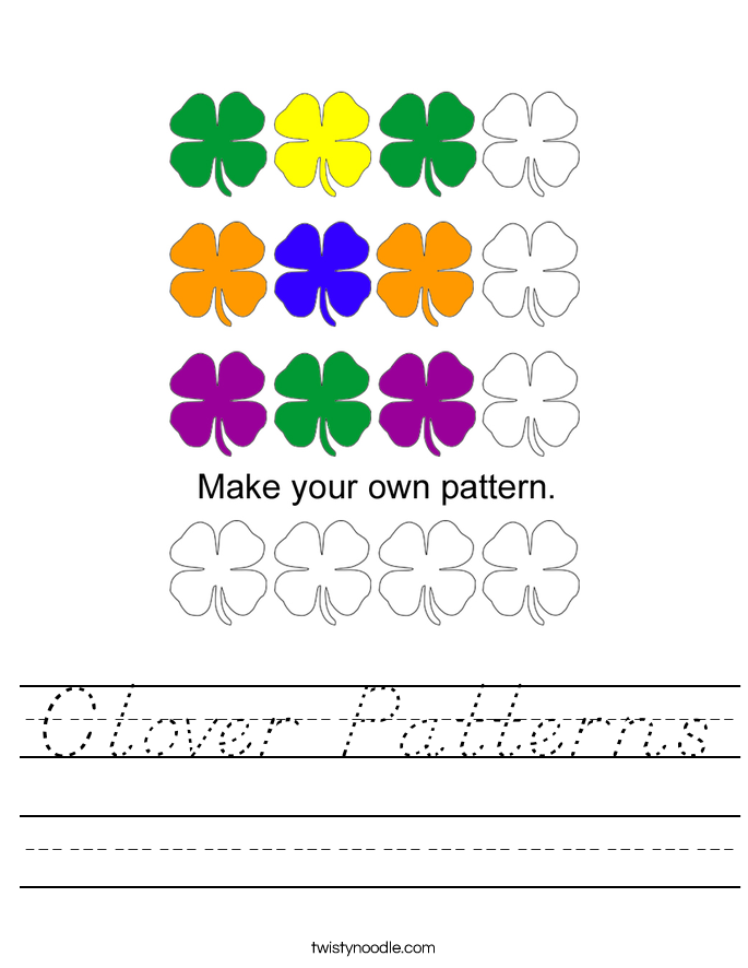 Clover Patterns Worksheet
