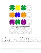 Clover Patterns Handwriting Sheet