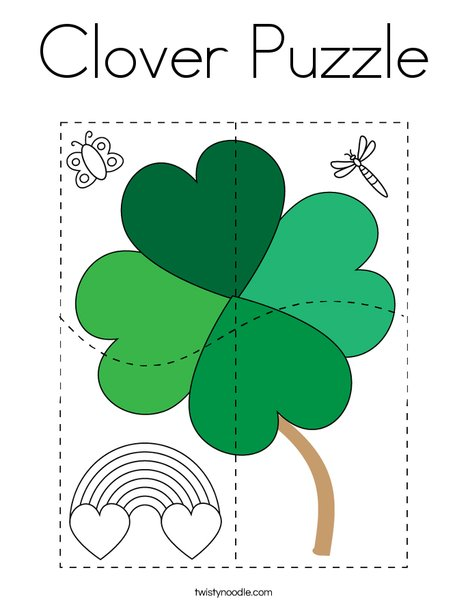 Clover Puzzle Coloring Page