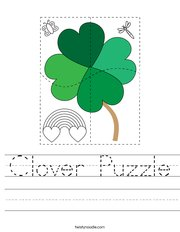 Clover Puzzle Handwriting Sheet