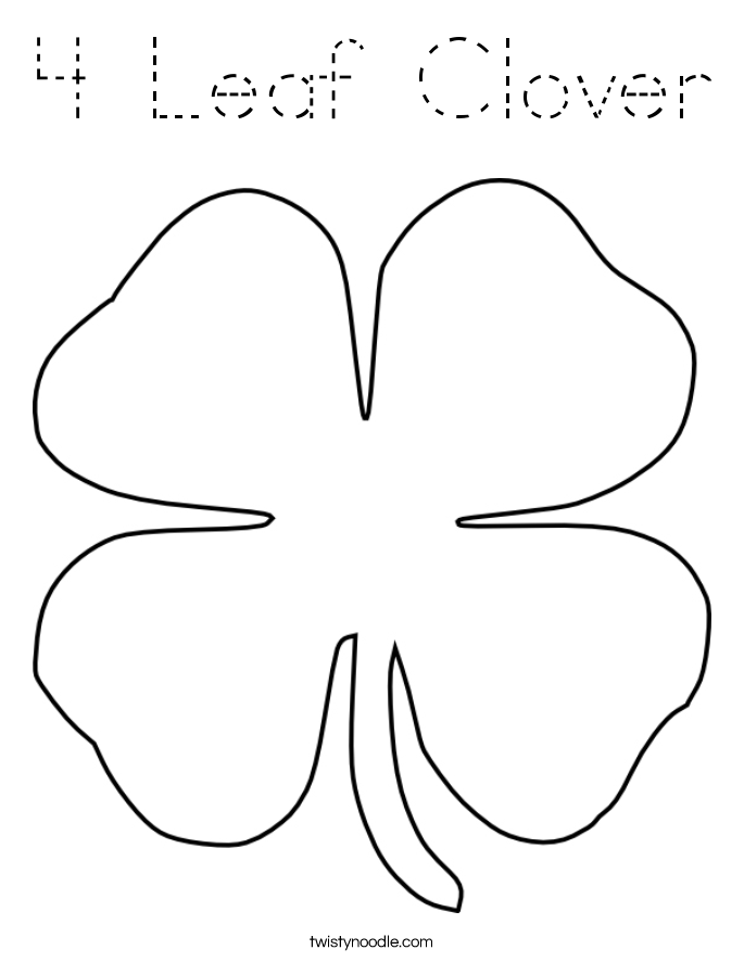 Four Leaf Clover Coloring Page Four Leaf Clover Color Page