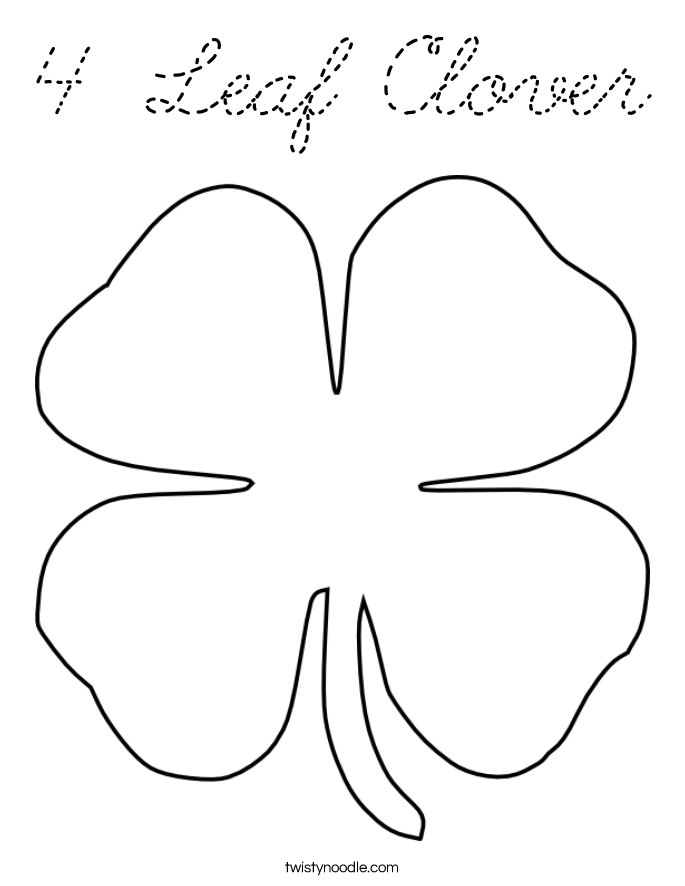 four leave clover coloring pages - photo#30