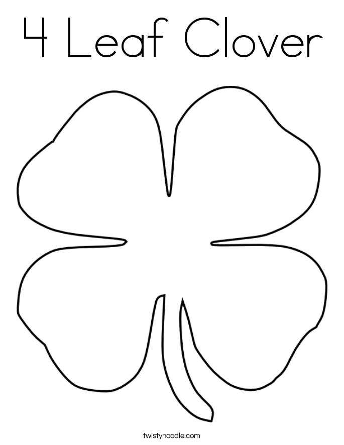 4 leaf clover coloring page twisty noodle 4 Leaf Clover Girl 4 Leaf Clover Outline 4- H Black