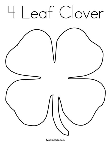 graphic regarding Printable Four Leaf Clover identified as 4 Leaf Clover Coloring Website page - Twisty Noodle
