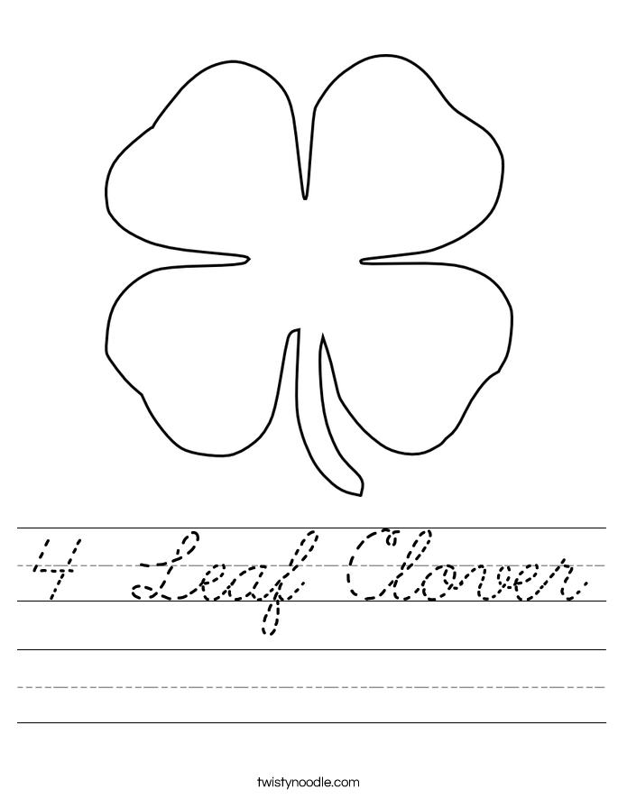 4 Leaf Clover Worksheet