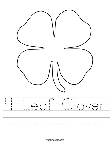 4 leaf clover worksheet twisty noodle. Black Bedroom Furniture Sets. Home Design Ideas